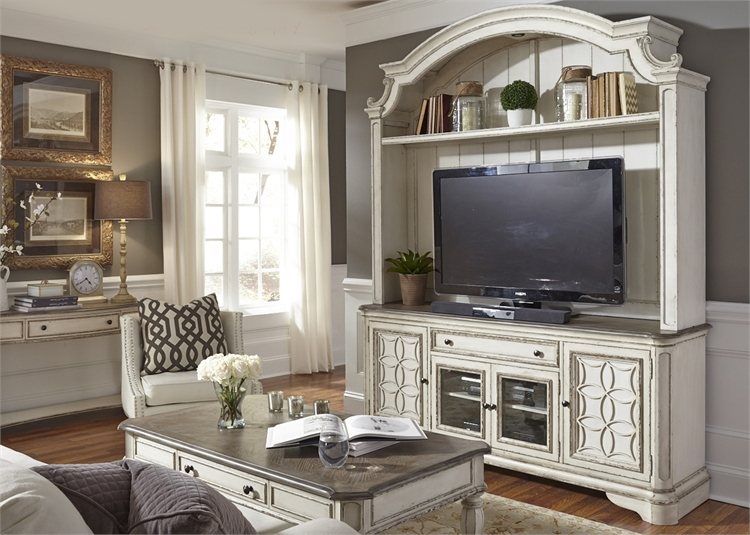 theater chair accessories regency dining chairs antique magnolia manor entertainment center in white finish by liberty furniture - 244-ent