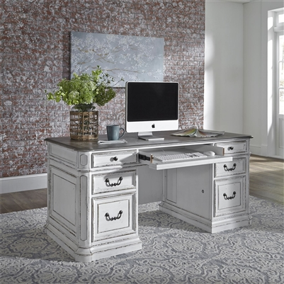 Magnolia Manor Jr Executive Desk In Antique White Finish