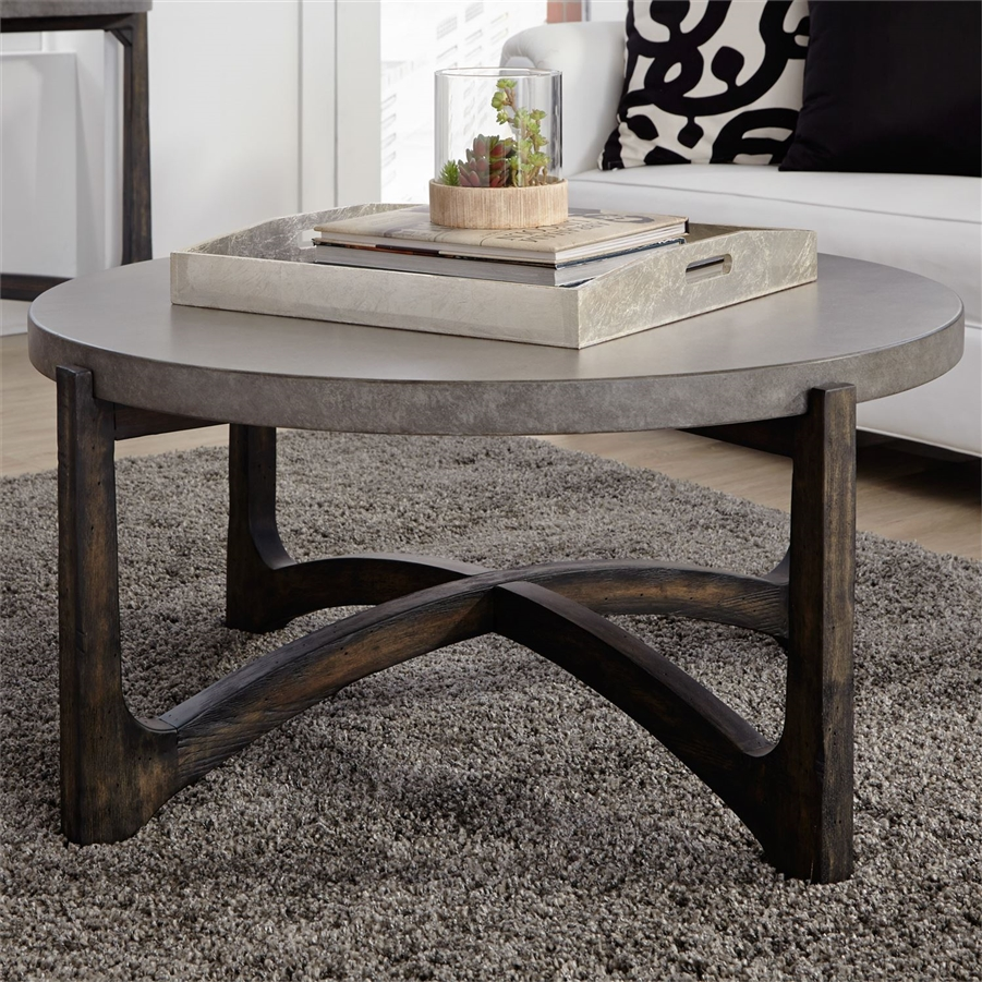 cascade round cocktail table in wire brush rustic brown finish by liberty furniture 292 ot1011