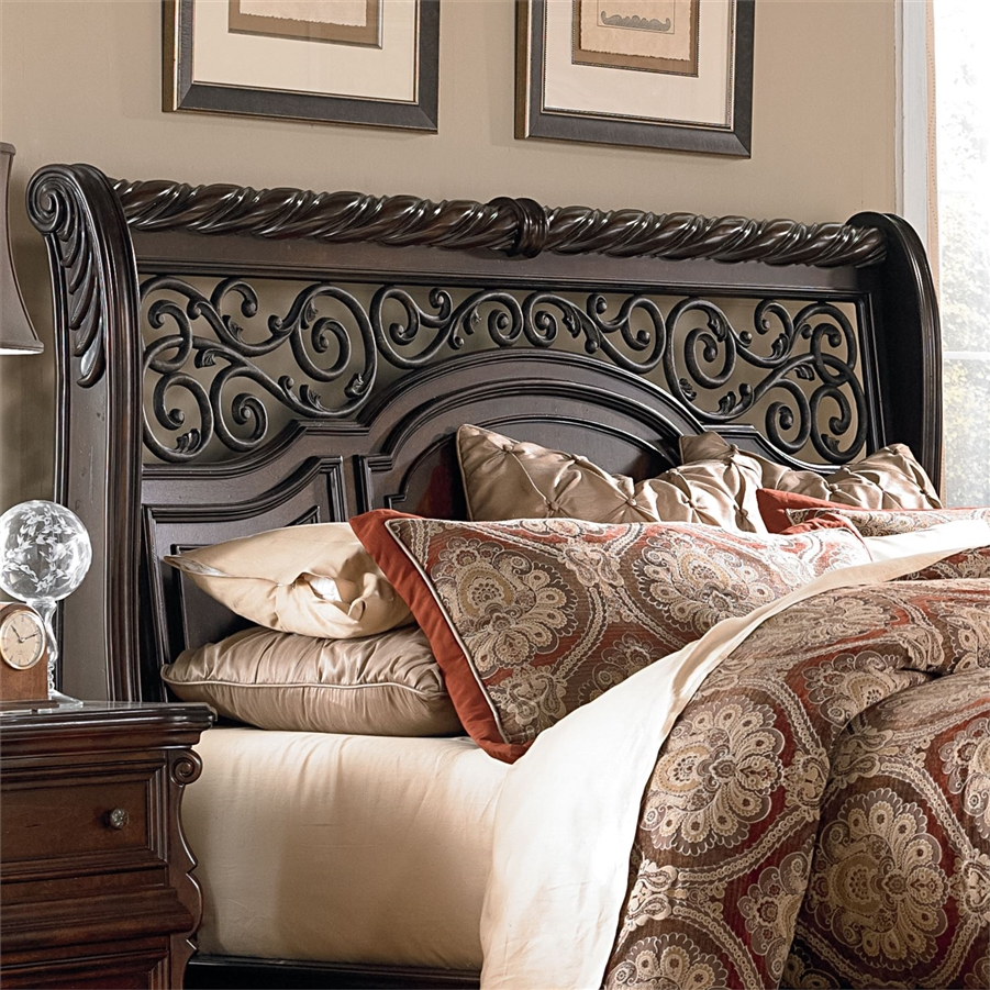 Arbor Place Sleigh Bed 6 Piece Bedroom Set in Brownstone
