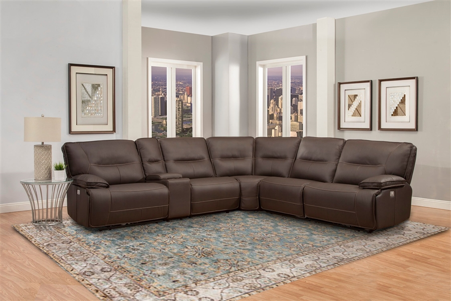 spartacus 6 piece power reclining sectional with power headrests and usb ports in chocolate fabric by parker house mspa cho 6