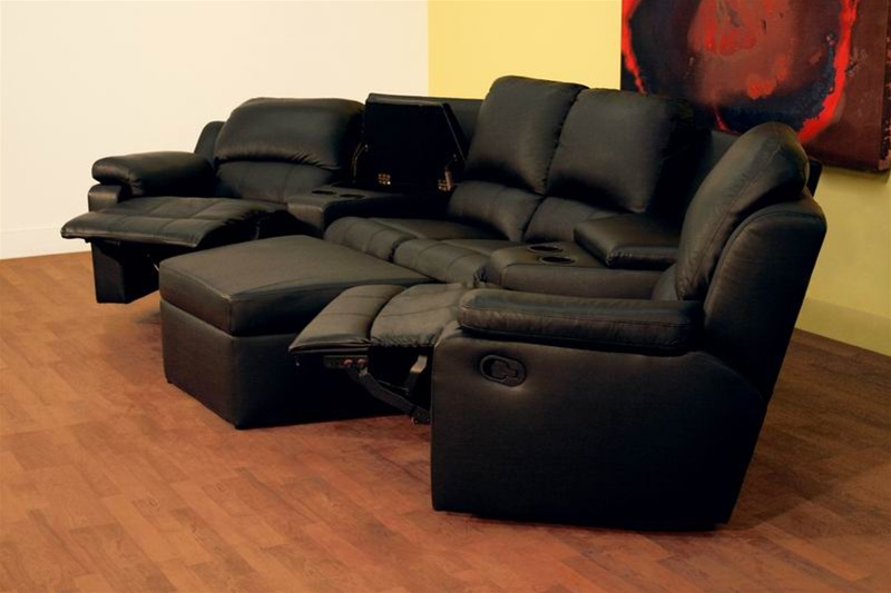 Boden 7 Piece Black Leather Theater Seating Sectional By Theatre.  Restaurant Dining Living Room Stadium Seating Part 33