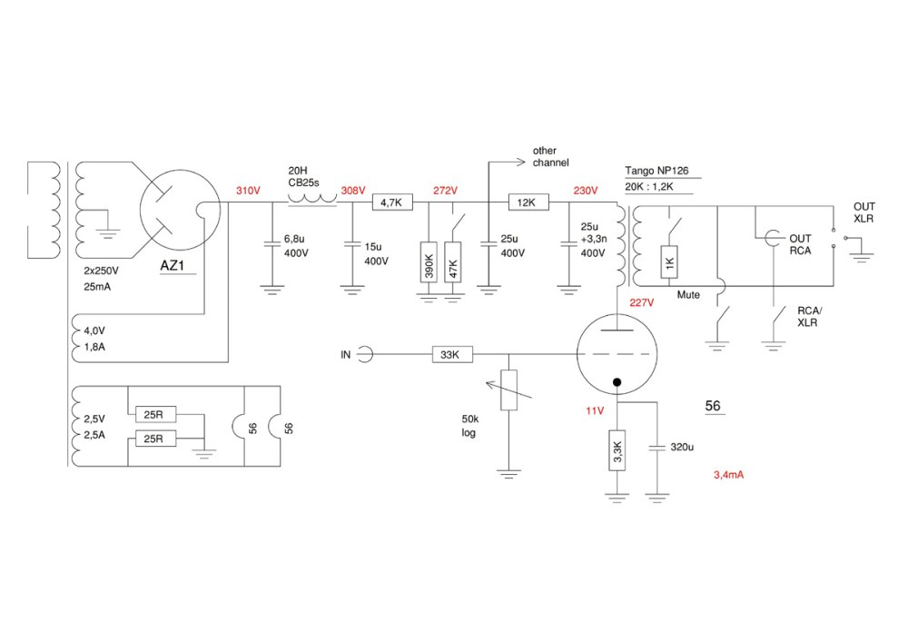 medium resolution of  preamplifier with 56 triodes and line output transformer electronic schematic