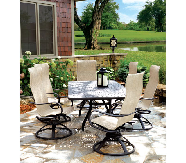 38 round aluminum patio table with 4 sling back chairs patio chairs