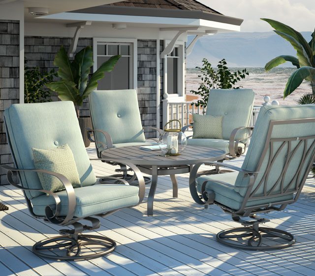 high back chair patio furniture dining cushions ikea outdoor emory cushion homecrest living seat heights across stationary gliding and swivel rocking motion pieces featuring luxe offers tremendous comfort
