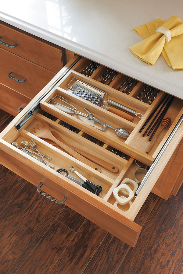 kitchen utensil drawer organizer high quality cabinets wood tiered cutlery divider - homecrest cabinetry