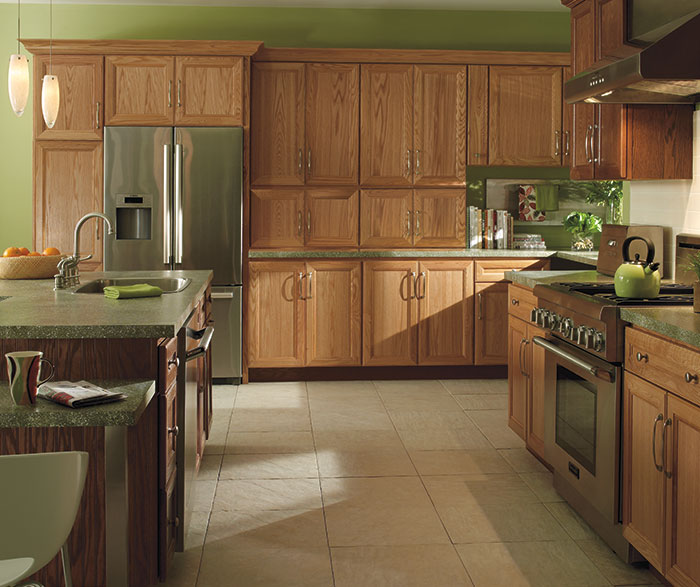 oak cabinets kitchen ikea ideas for small kitchens natural homecrest with a dark island
