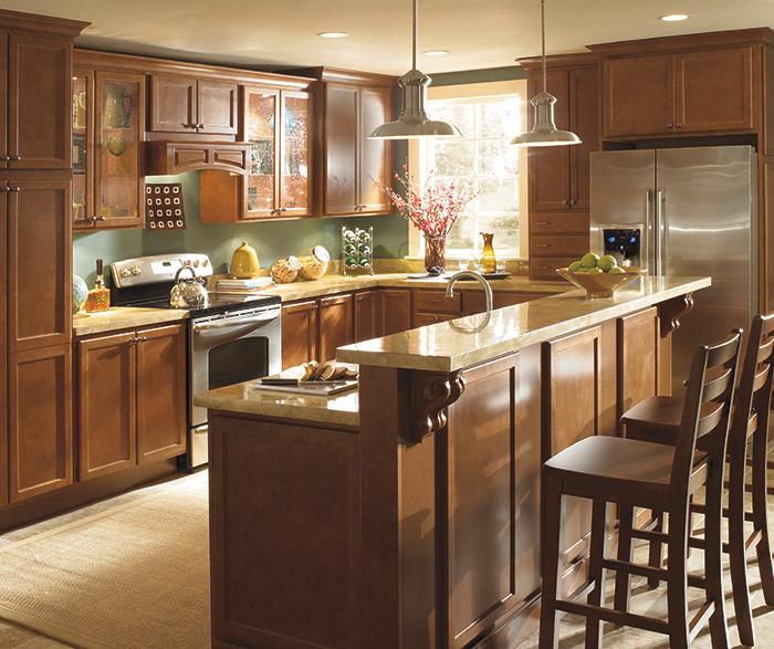 Maple Wood Cabinets with White Kitchen Island  Homecrest