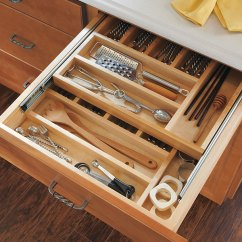 Kitchen Utensil Organizer Trash Can Dimensions Wood Tiered Cutlery Divider - Homecrest Cabinetry