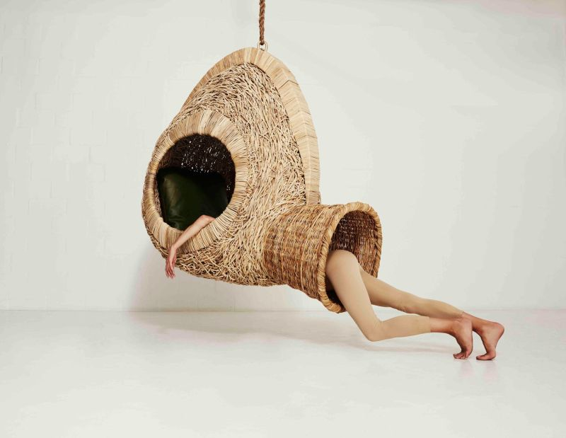 chairs for sleeping roll up beach chair porky hefer s life size nests are sculptural hanging upright cozy pods