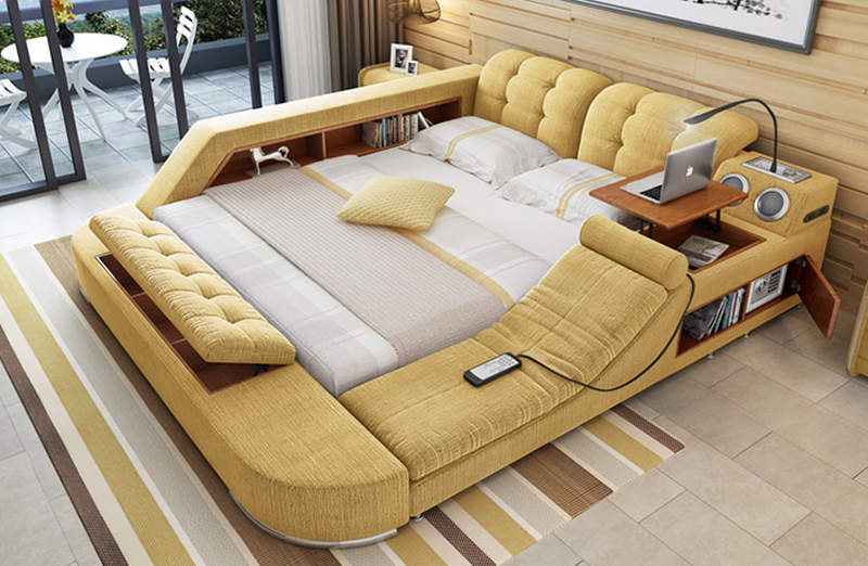 massage chair bed wingback ikea tatami multimedia has built in and pop up table