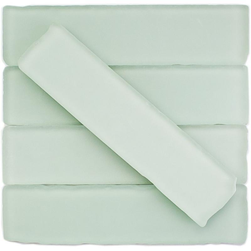 soho studio beach glass series 2x8 mavericks white frosted glass tile