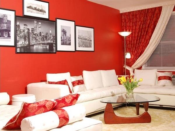 Red Living Room Design Ideas, Walls, Interior decor