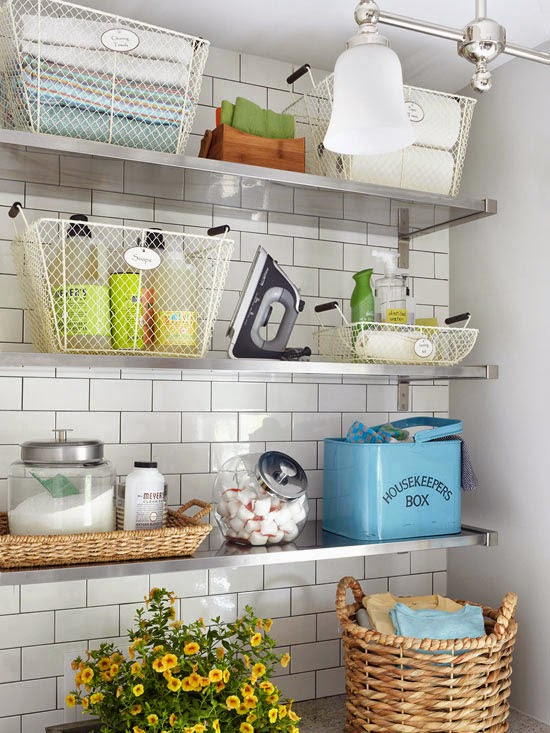 Open Shelves in laundary