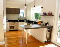 Modern Small Kitchen Design with Cherry Wood Cabinets ...
