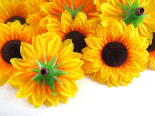 wholesale kitchen supplies ezr degreaser (100) silk yellow sunflowers sun flower heads , gerber ...