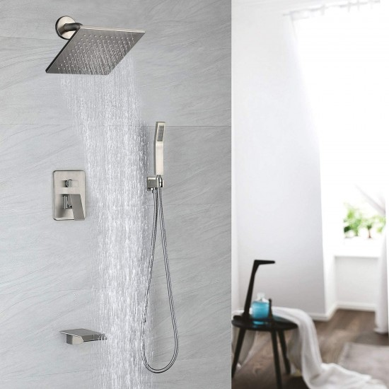 tub shower faucet set brushed nickel shower system rain shower head handheld shower waterfall bathtub spout included 3 function brass shower fixtures