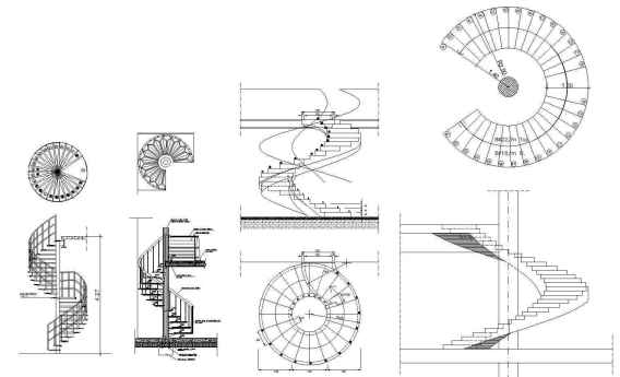 Free Spiral Stair Details Autocad Blocks Drawings Download Site