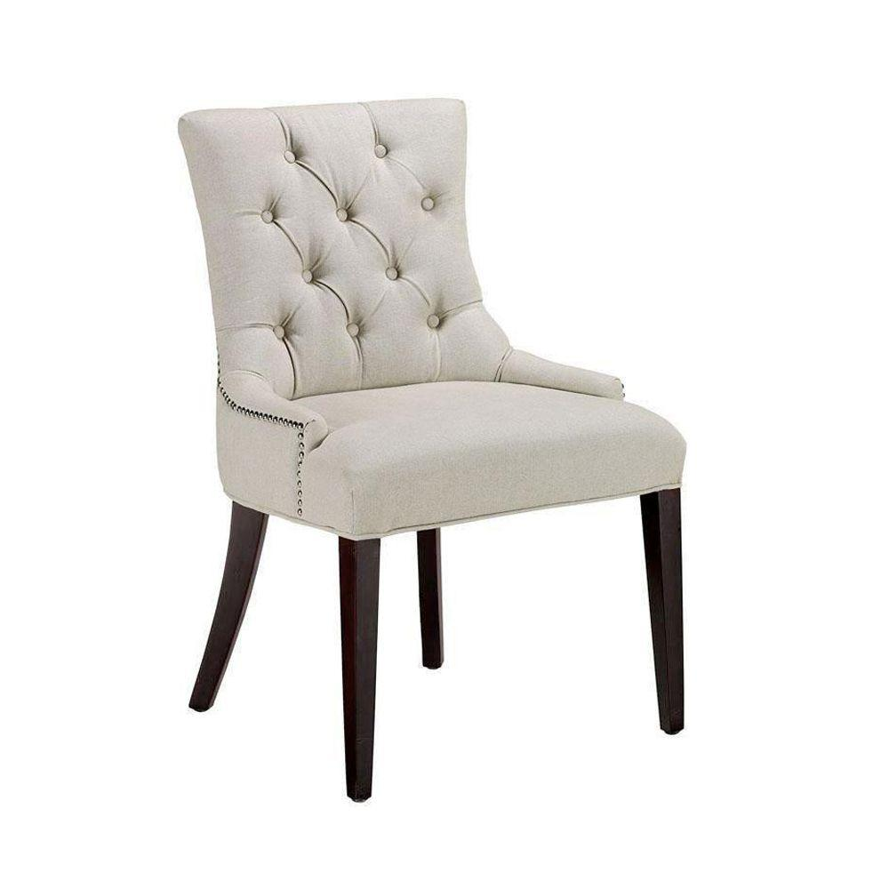 Home Decorators Collection Becca Natural Linen Tufted Dining Chair