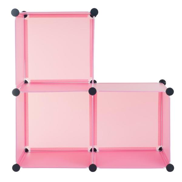 Everyday Home 14 In. X Pink Plastic Stackable 3-cube Organizer-m050010 - Depot