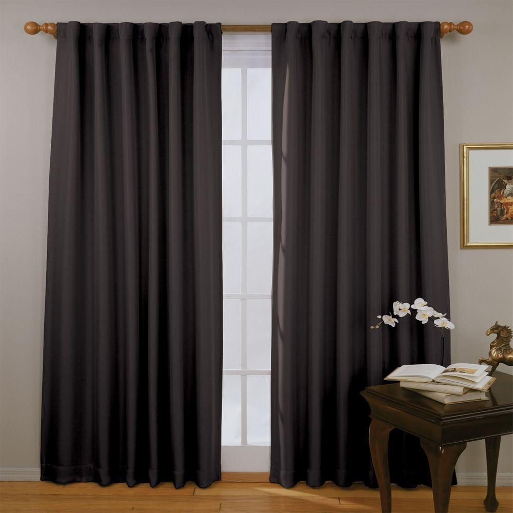 Eclipse Fresno Blackout Black Polyester Curtain Panel 84 In