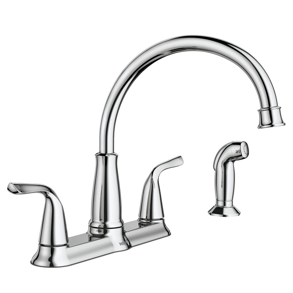 MOEN Brecklyn 2-Handle Standard Kitchen Faucet with Side