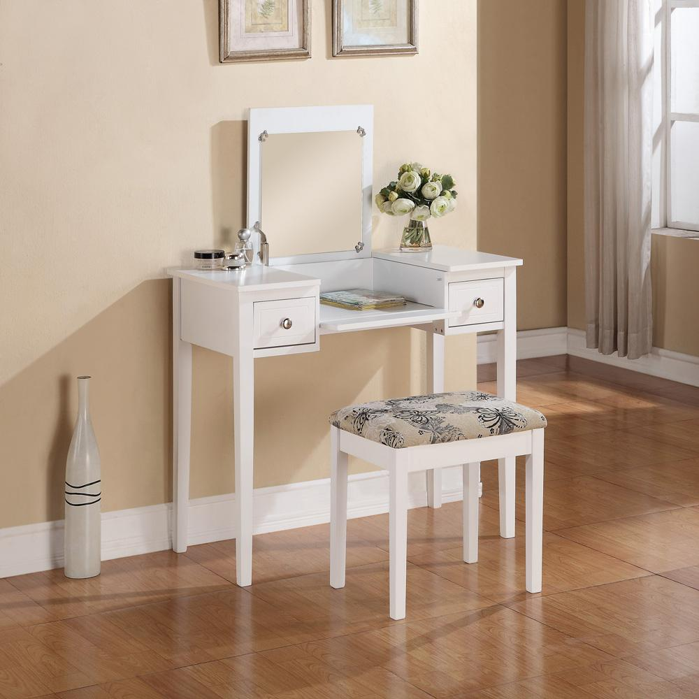 Linon Home Decor White Bedroom Vanity Table With Butterfly