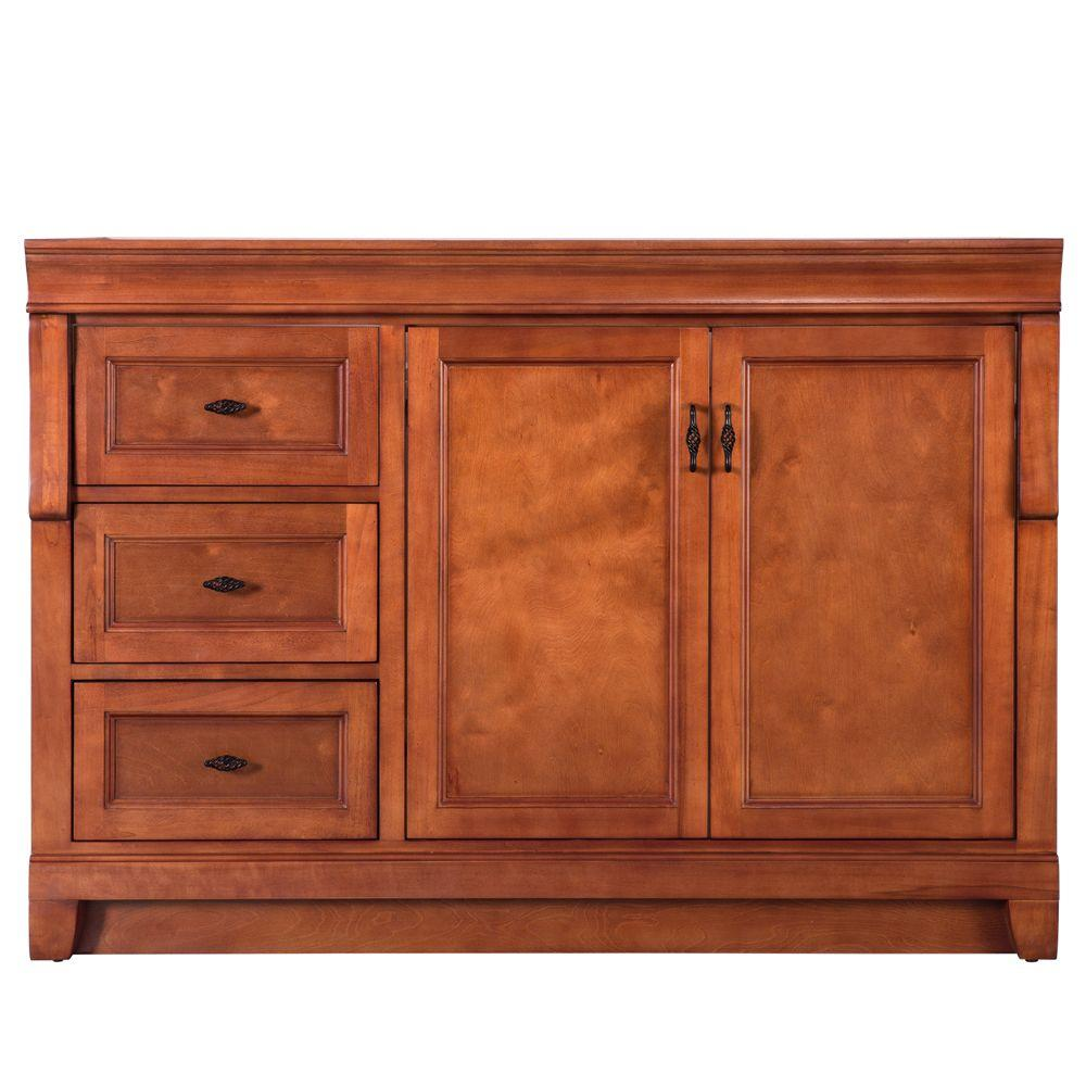 Foremost Naples 48 in W Bath Vanity Cabinet Only in Warm Cinnamon with Left Hand Drawers