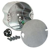 4 in. Round Ceiling Fan Rated Box, 2-1/8 Deep with 1/2 in ...