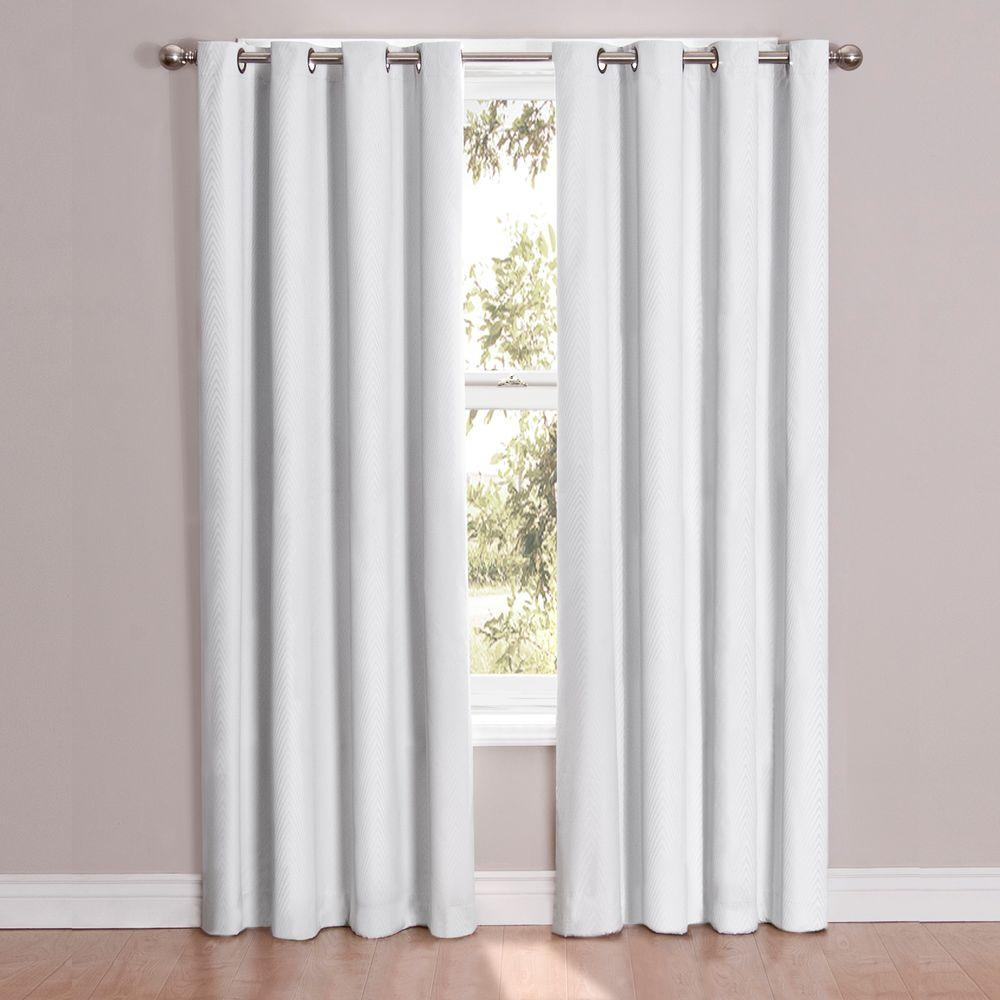 Eclipse Cassidy Blackout White Polyester Grommet Curtain Panel 95