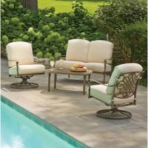 Hampton Bay Cavasso 4-piece Metal Outdoor Deep Seating Set