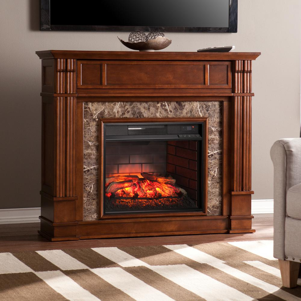 Southern Enterprises Rochester 48 in W Faux Stone Infrared Electric Media Fireplace in Whiskey