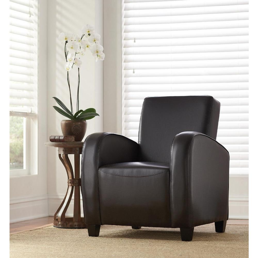 Home Decorators Collection Black Bonded Leather Club Arm Chair