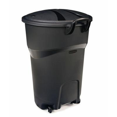 Rubbermaid Roughneck 32 Gal Black Wheeled Trash Can with