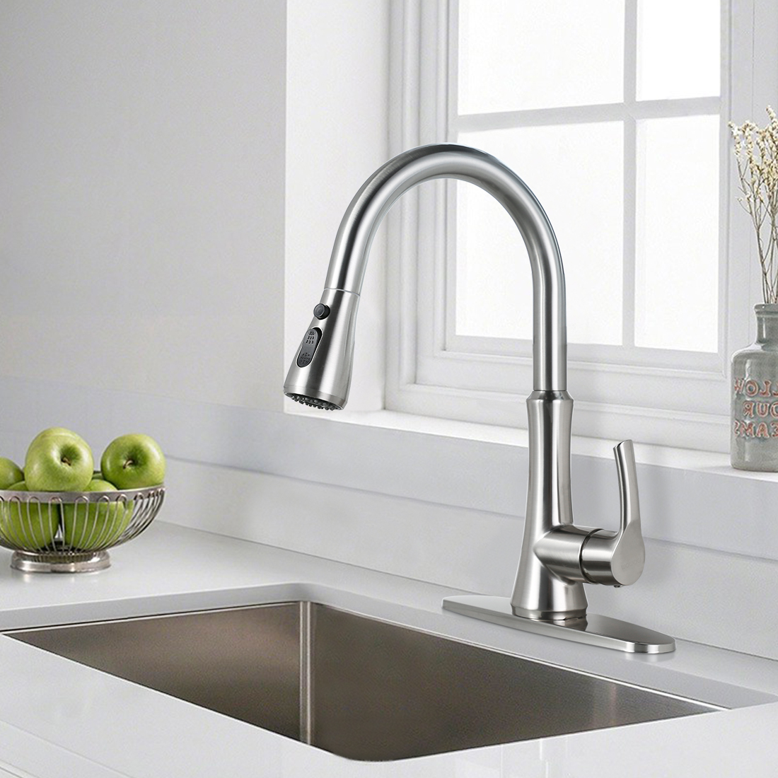 modern rv kitchen faucet with pull down sprayer brushed nickel