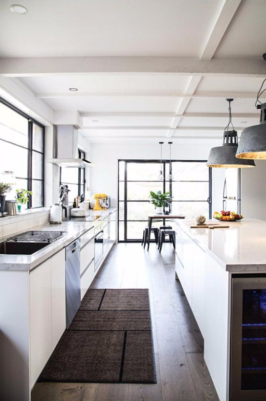 mid level kitchen cabinets light fixtures lowes industrial style: decorating ideas