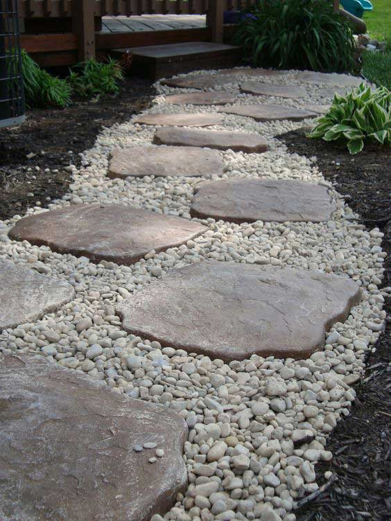 lay stepping stones and path