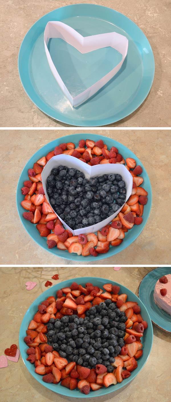 Cute heart-shaped fruit platter
