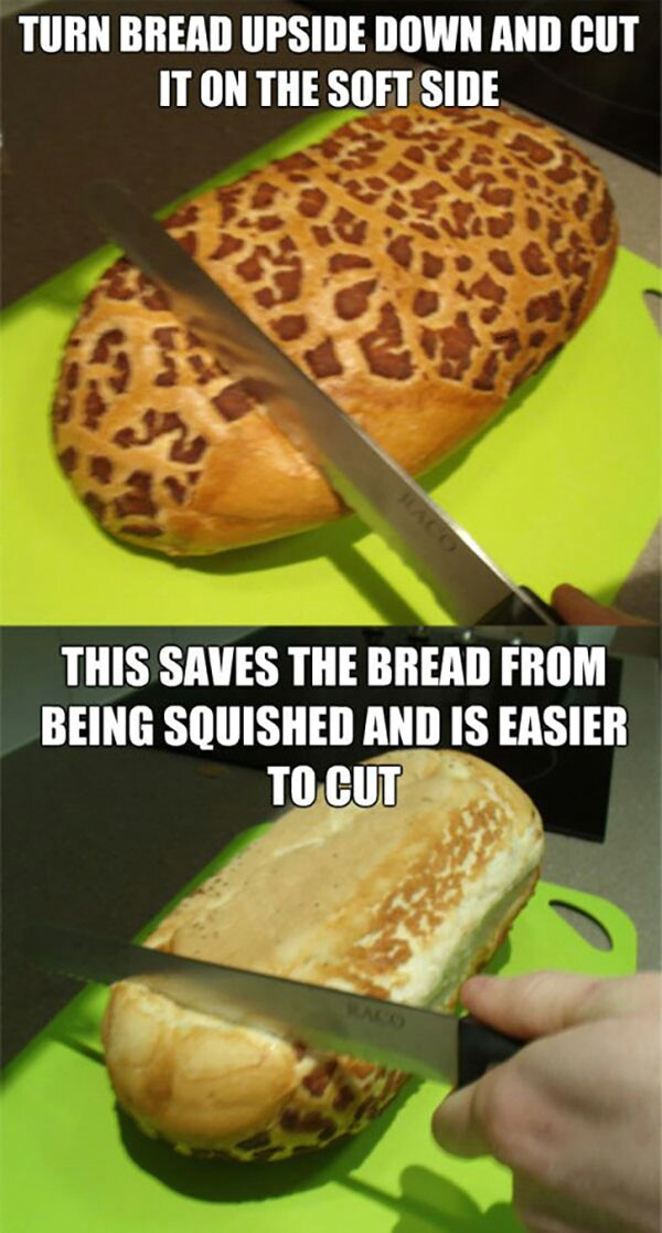 Turn Bread Upside Down And Cut It On The Soft Side