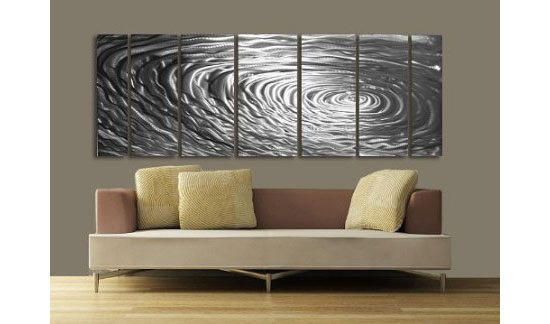 metal wall art decor for living room what size recessed lights accentuate your with ripple effect modern abstract painting sculpture