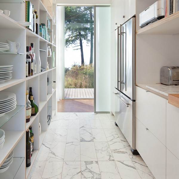 tiled kitchen floors appliance shelf 36 floor tile ideas designs and inspiration june 2017 white marble tiles add to the light airy feel in this compact