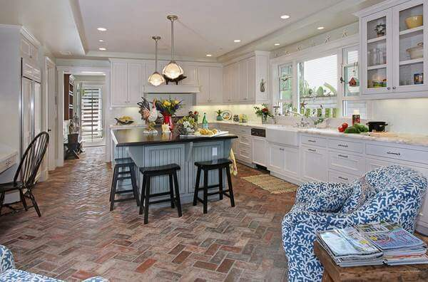 kitchen tile floor murals 36 ideas designs and inspiration june 2017 reclaimed terracotta brick tiles give this contemporary farmhouse a timeless elegance