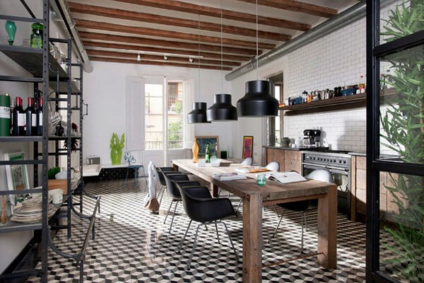 The 3D box patterned encaustic tiles used here are a design classic, and really bring this kitchen together.