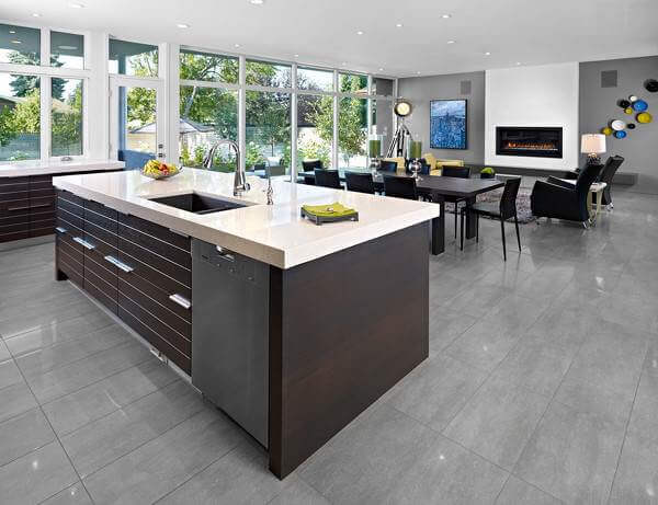 tiled kitchen floors strainer 36 floor tile ideas designs and inspiration june 2017 these very on trend gray porcelain tiles are ideal for a contemporary open plan space