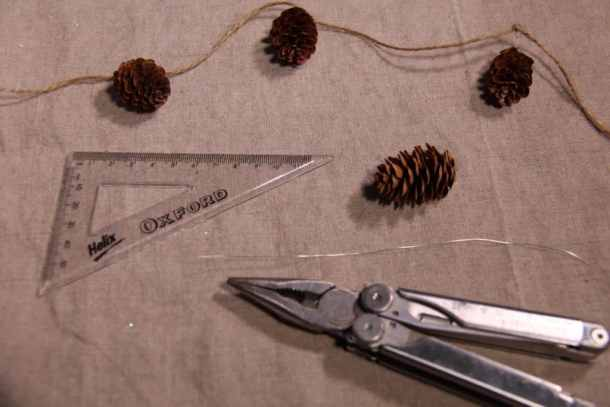 Supplies for Making a Pinecone Garland | Home for the Harvest | www.homefortheharvest.com