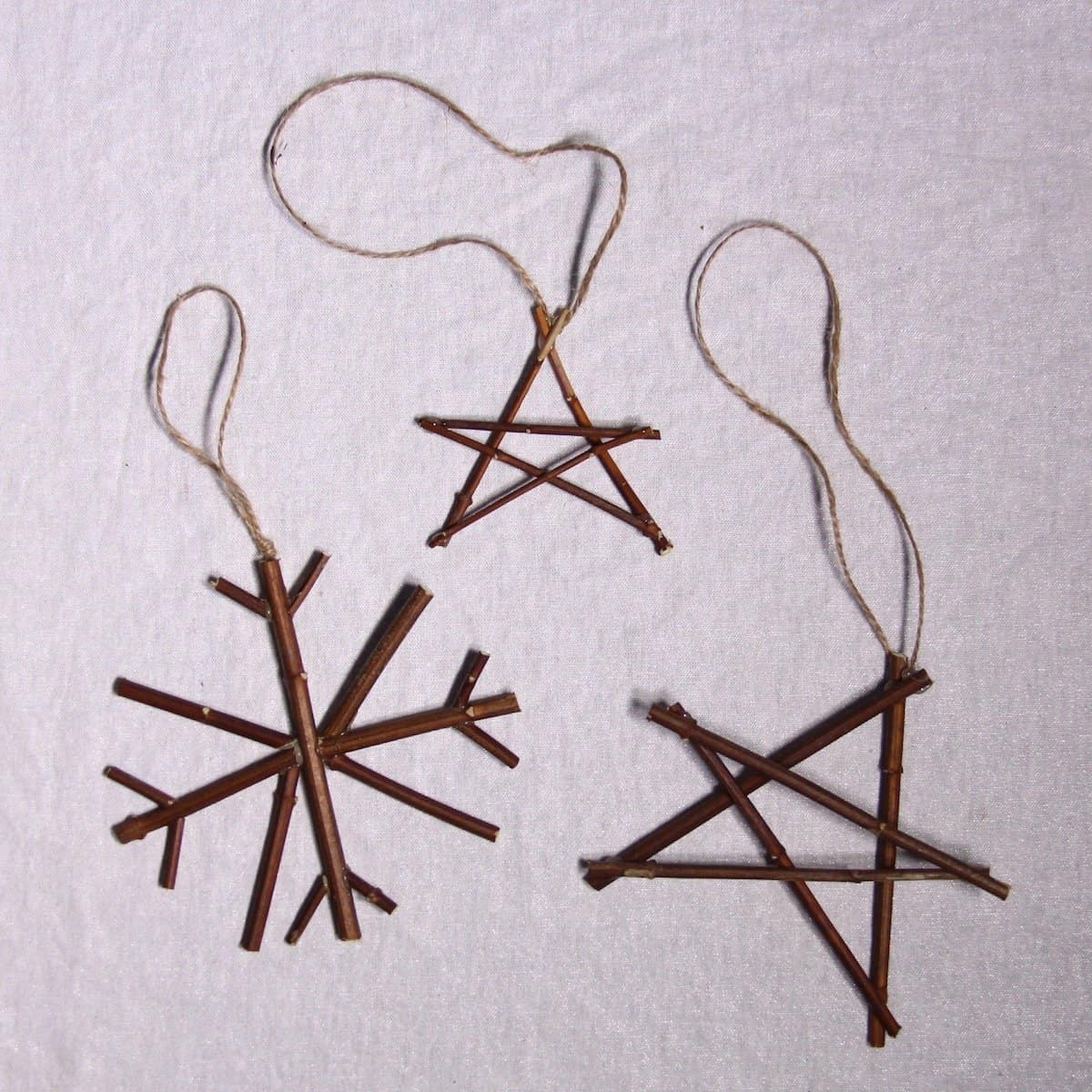 natural christmas decorations snowflake and star twig ornaments home for the harvest