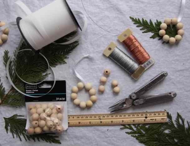 Supplies for Making Birch Bead Christmas Ornaments | Home for the Harvest
