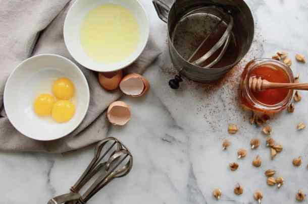Ingredients for Chocolate Honey Walnut Cookies GF | Home for the Harvest
