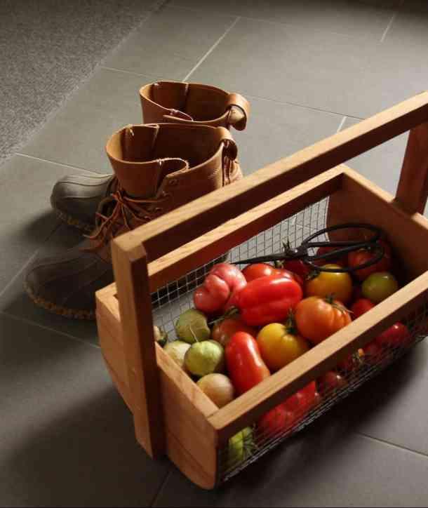 kitchen garden harvest basket full of homegrown tomatoes from the potager vegetable garden