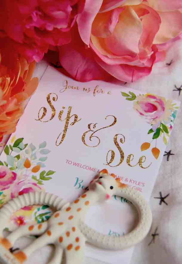 This floral-themed Sip and See party is full of simple DIY's, fresh flowers, and yummy sweets - Sip & See Baby Shower | Home for the Harvest #SipandSee #Sip&See #Baby #BabyShower #BabyParty #FloralParty #FloralTheme #BeeTheme #FlowerTheme #FlowerParty #HomefortheHarvest